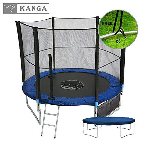 The UK's best selling 8ft trampoline as well as a safety net enclosure, shoe bag, winter cover, ladder and free anchor kit. The 8ft trampoline with enclosure fits most small to large size gardens and is large enough for teenagers through to adults, giving an ample amount of room to bounce on. With this 8ft trampoline with enclosure Package not only do you get everything you need to get trampolining quickly and safely, but you will also save £££'s buying altogether in this one great kit!