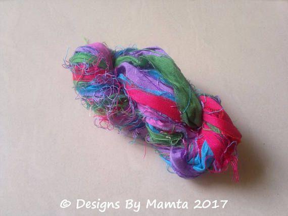 Hydrangea Craft Sari Silk Ribbon Yarn Variegated Sari Ribbon
