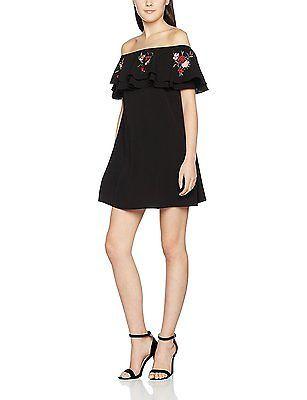 14, Black, New Look Women's Frill Bardot Dress NEW