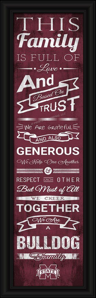 """Mississippi State Bulldogs Family Cheer Print 8""""x24"""""""