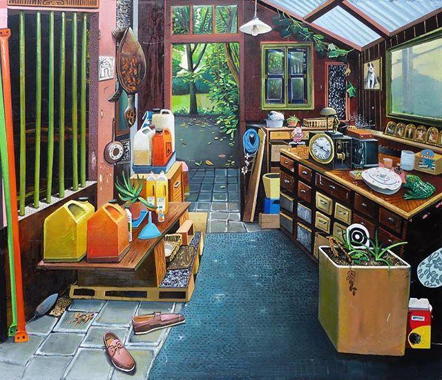 Mathieu Cherkit - Turtle zwei (2012)  #mathieucherkit #cherkit #turtle #zwei #outhouse #interior #painting #artwork #contemporarypainting #contemporaryart #art #artoftheday #artdaily