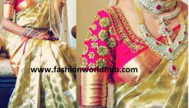 Gold Kanjeevaram Saree & Designer blouse!