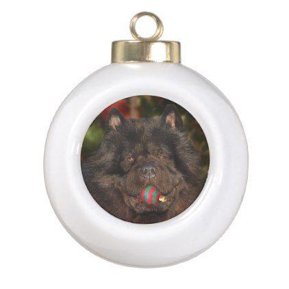 #Black chow dog Christmas Ceramic Ball Christmas Ornament - #Xmas #ChristmasEve Christmas Eve #Christmas #merry #xmas #family #kids #gifts #holidays #Santa