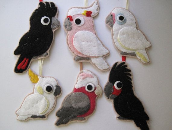 Set of 6 Felt Parrot Ornaments Australian by FreaksOnCanvas, €59.00