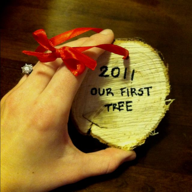 turning a slice of your 1st christmas tree stump into an ornament
