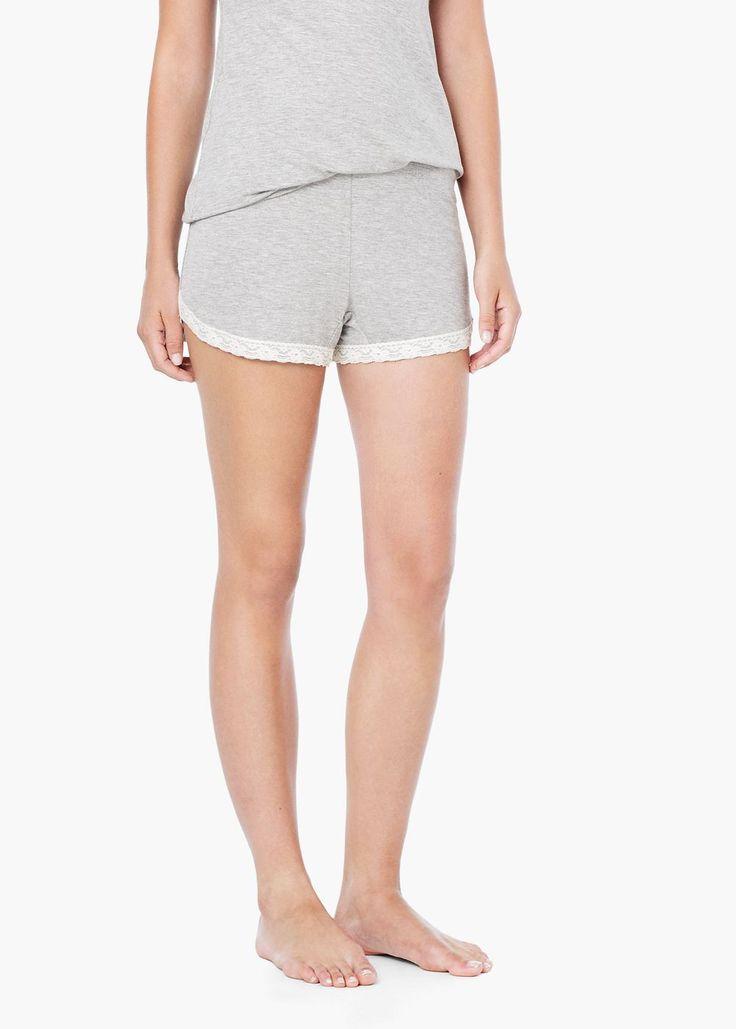 Pantaloni scurți panou dantelă - Pijamale pentru Femei   MANGO