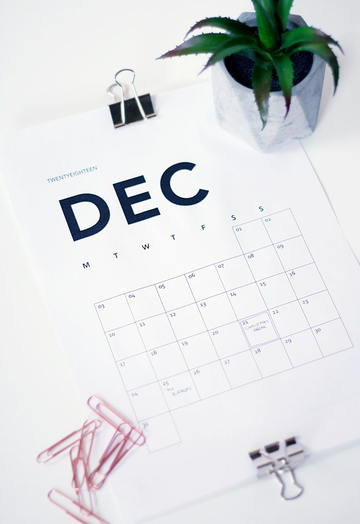 MINIMAL PRINTABLE CALENDAR 2018 - FREE DOWNLOAD #printablecalendar