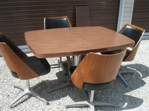 Mid Century Modern Brody Furniture Brody Bentwood Walnut Swivel Chairs Amp Table