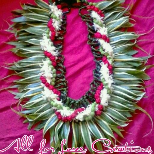 Woven Ti leaf loop & song of India Lei, w/Tuberose, Red He'e, Green Sea grapes entwined.