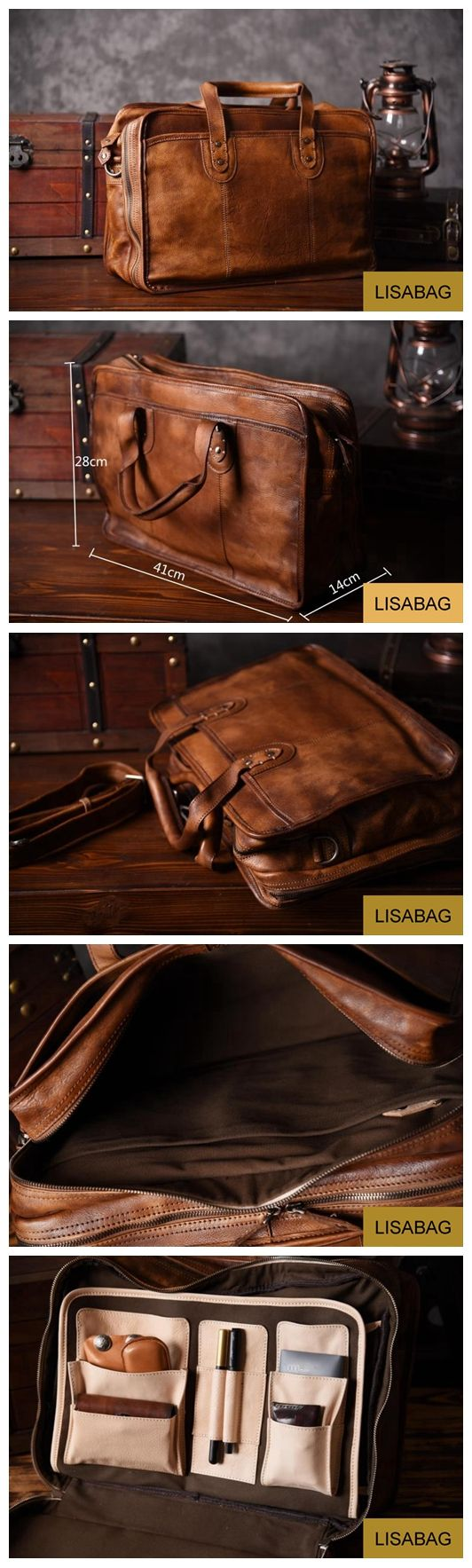 Handmade Leather Briefcase Men's Messenger Bag 15'' Laptop Bag Travel Bag Men's Fashion Business Bag Leather Duffle Bag NZ01 Overview: Design: Vintage Leather Men Briefcase In Stock: 3-5 days For Maki