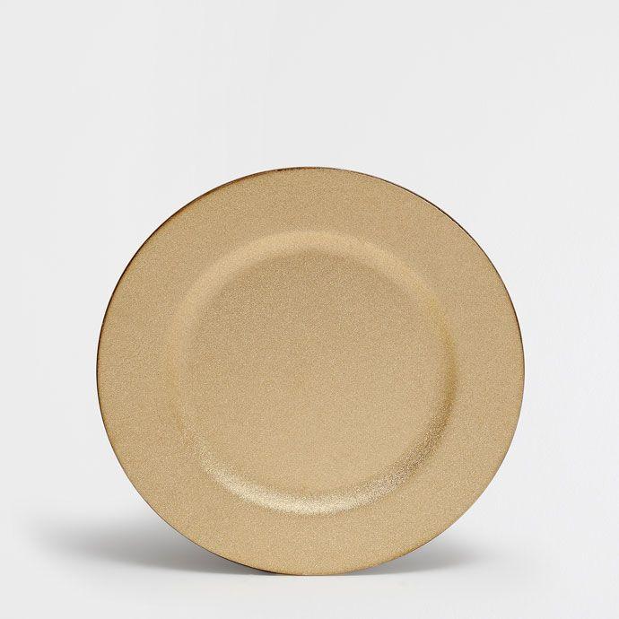 Bajo plato dorado purpurina - Mesa - Navidad   Zara Home España