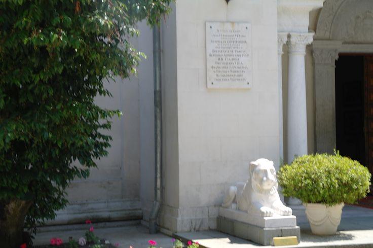 Вход во дворец традиционно охраняют львы