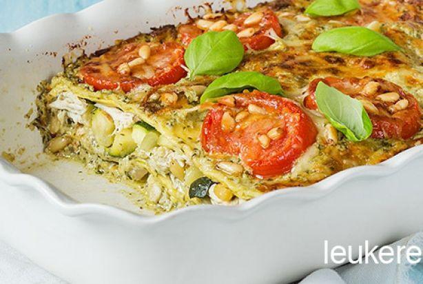 lasagne kip, pesto en courgette