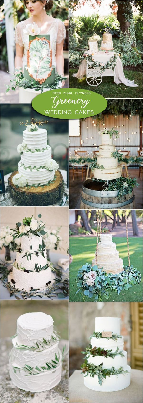 Greenery wedding cake ideas / http://www.deerpearlflowers.com/greenery-wedding-decor-ideas/2/