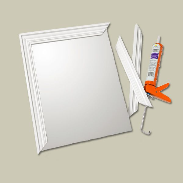 Frame a new no-frills medicine chest with crown molding for a custom-look cabinet. A frame can also hide chipped mirror edges on an old chest. Cut four lengths of crown to size, mitering the corners, and adhere to the glass with mirror mastic.