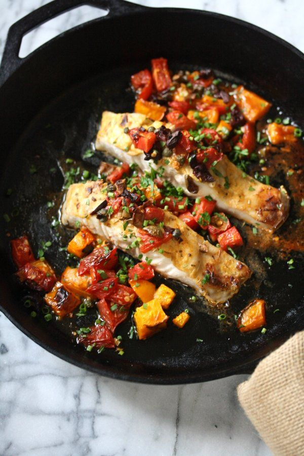 Broiled Striped Bass Recipe with Provencal Tomatoes and Olives | Healthy Fish Recipe