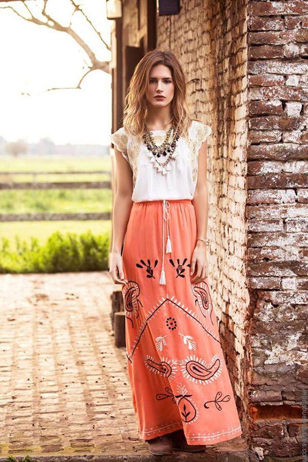 Faldas y remeras verano 2018. Moda primavera verano 2018. #fashion #hippiechic