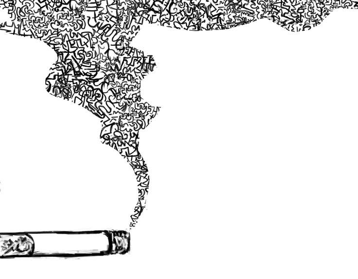 how to draw a cigarette with smoke