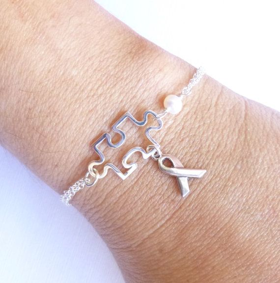 Sterling Silver Autism Awareness Bracelet by tinycottagetreasures, $33.00