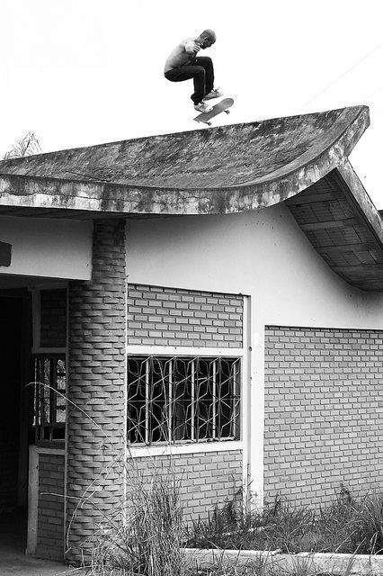 skate. Nice roof boarding! I like the grayscale!