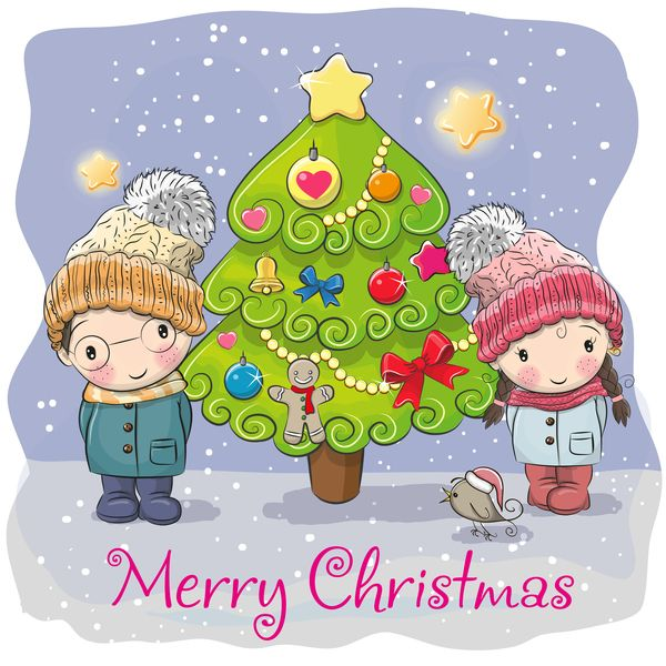 Cartoon christmas tree with xmas elements vector 12