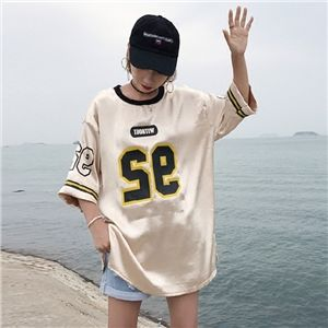 原宿系 ストリート カジュアル スポーツ トップス レディース カラフル ナンバー 半袖 Tシャツ ダンス 衣装