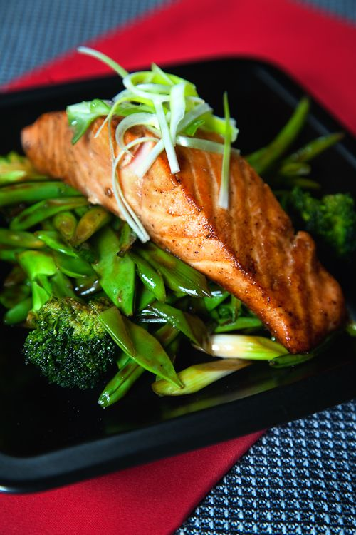 Asian Salmon with Stir-fried Vegetables. Full recipe here: http://celebrityslim.com.au/recipes/seafood/asian-salmon-with-stir-fried-vegetables