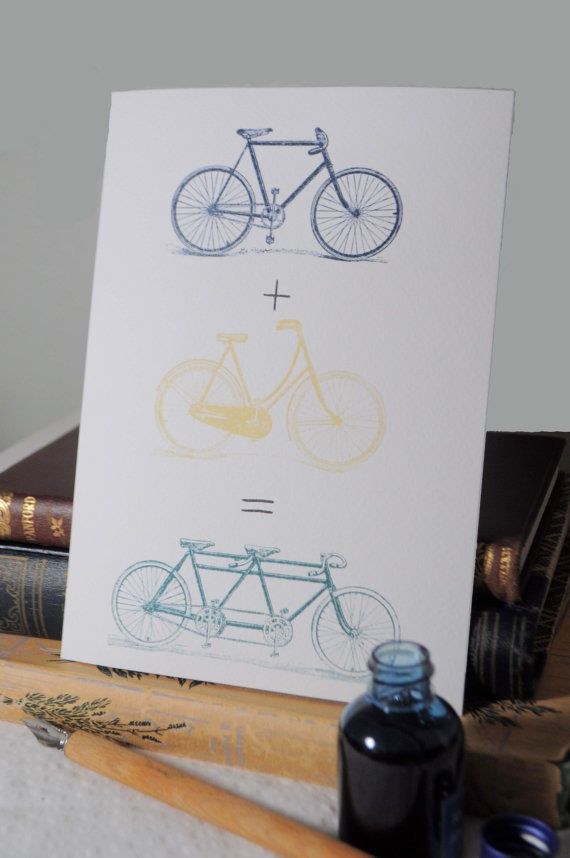 Customizable Vintage Tandem Bicycle Wedding Card in Bespoke Stationer Etsy Shop - only $5.00