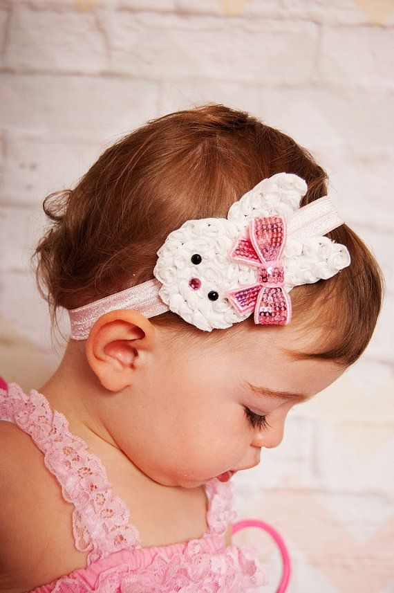 Easter Bunny Headband Baby Headband Shabby by BabyBloomzBoutique, $7.95