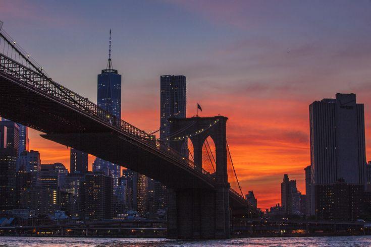 [フリー画像素材] 風景, 建築物, 都市, 橋, 夕日 / 日の入り, 高層ビル, ブルックリン橋, アメリカ, ニューヨーク ID:201407071900