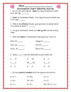 This is a Valentine's Day Conversation Heart math activity.  Students are given a box or bag of conversation hearts.  They will then do activities ...