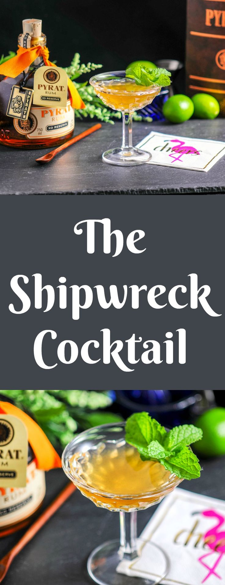 The Shipwreck cocktail - aged dark rum, lillet blanc, grapefruit simple syrup and lime. Craft cocktail for a perfect rum day!