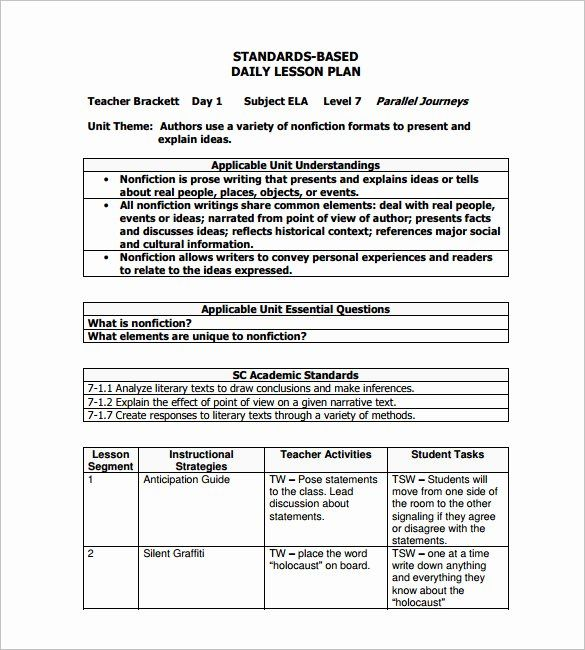 New Standard Based Lesson Plan Template In 2020 Teaching Lesson