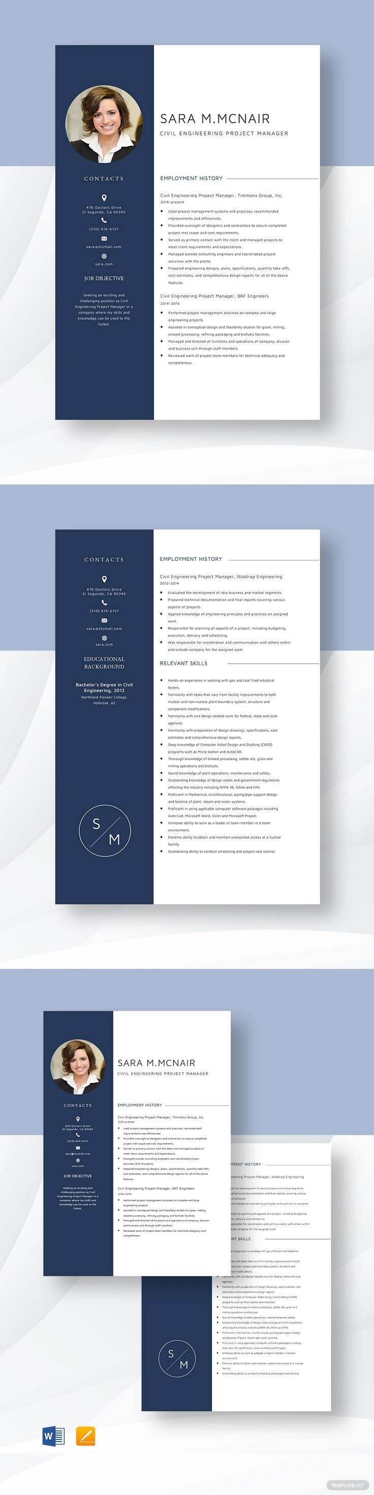 Civil engineering project manager resume template