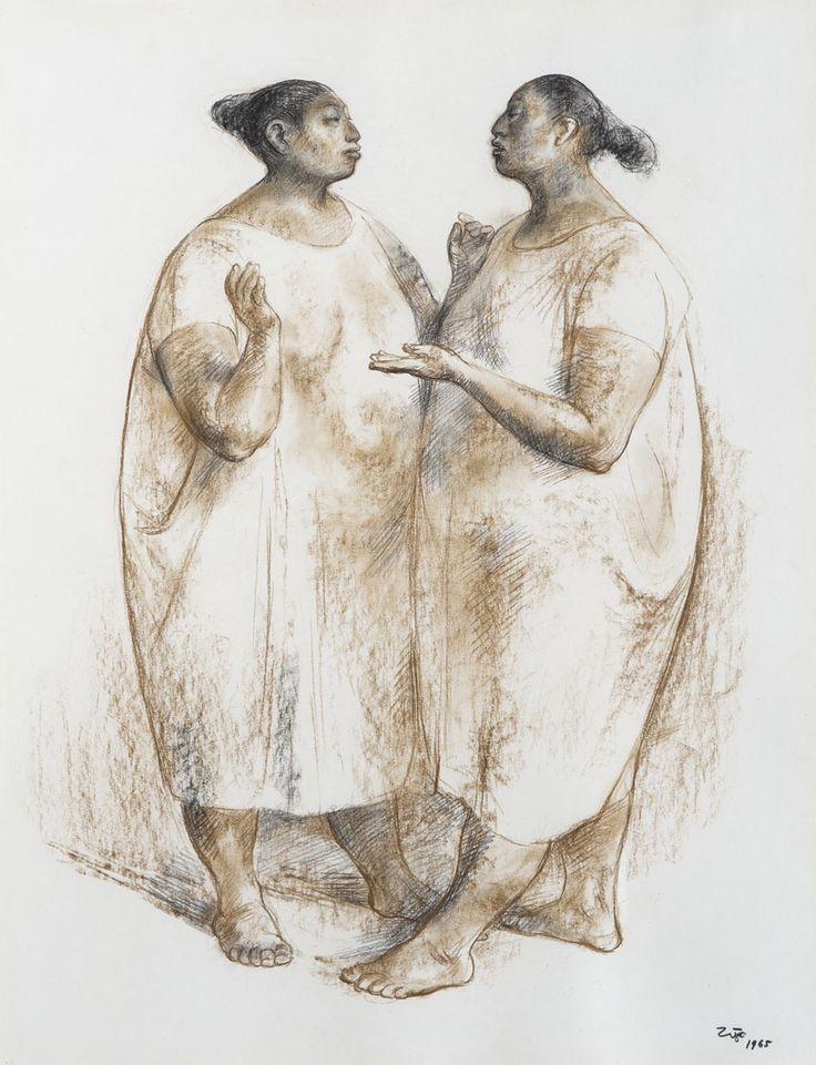 Francisco Zúñiga (Mexican, 1912-1998), Dos mujeres conversando [Two women talking], 1965. Charcoal and brown crayon on cardboard, 65 x 50 cm