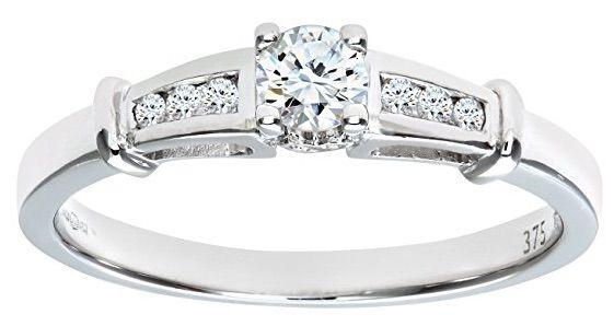 Naava – Anillo de mujer de oro blanco 9 kilates con 9 diamantes   Joyería online, joyas de Plata y Oro.