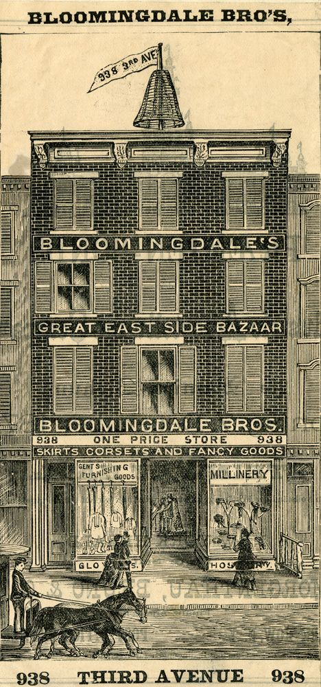 """October 3, 1872: Brothers Joseph and Lyman G. Bloomingdale open their first store at 938 Third Avenue.  """"Bloomingdale's Great East Side Bazaar,"""" wood engraving, undated.  Department of Prints, Photographs and Architecture Collections, New-York Historical Society, 88647d."""