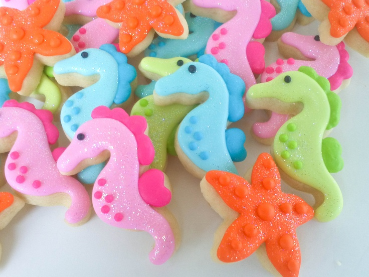 adorable Seahorse and Starfish Mini Sugar Cookies-