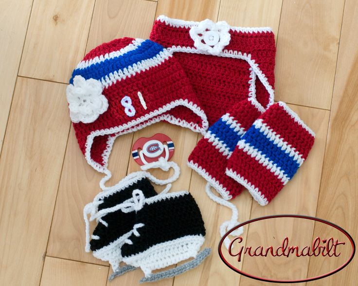 BABY HOCKEY GIRL Montreal Canadiens pacifier not included Baby Hockey Skates Outfit, Red Blue White Baby Hockey Outfit, Knit Hockey Skates by Grandmabilt on Etsy