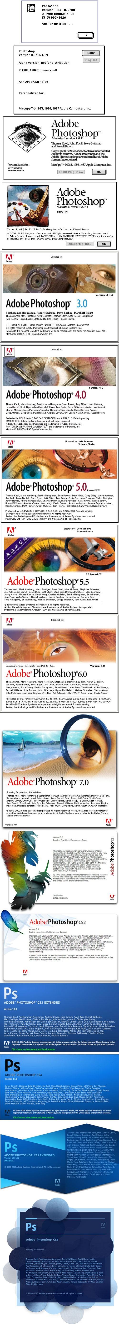 24 years of Photoshop splash screens