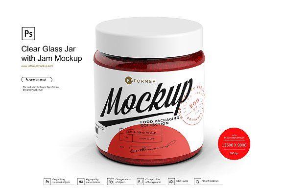Clear Glass Jar With Jam Mockup Clear Glass Jars Glass Jars Clear Glass