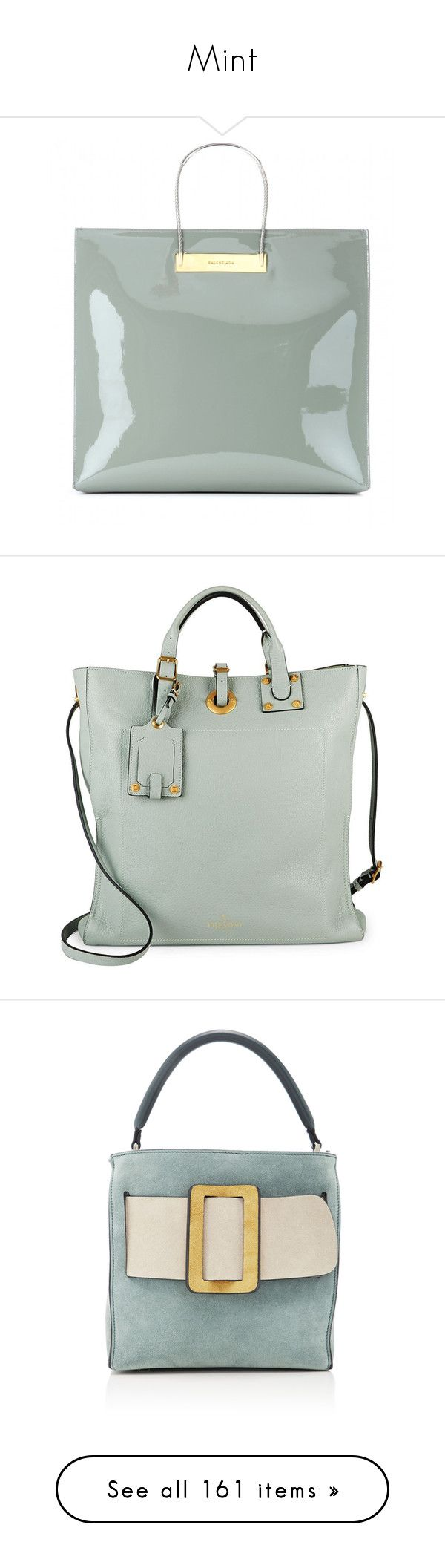 """Mint"" by olga1402 on Polyvore featuring bags, handbags, сумки, balenciaga, grey, gray handbags, patent purse, shopper handbag, shopper tote handbags and patent leather purse"