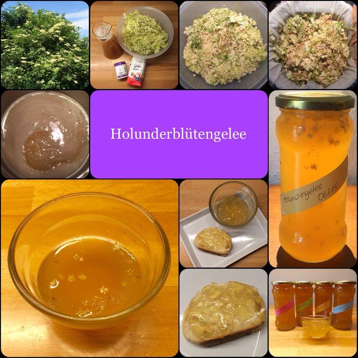 Holunderblütengelee 30 frische Holunderblütendolden 1 l Apfelsaft, gerne natürtrüb und bio 1,5 TL Zitronensäure (Apotheke, 100 g = 2,80 €) 600 g Gelierzucker 2:1 Die frischen Blü…