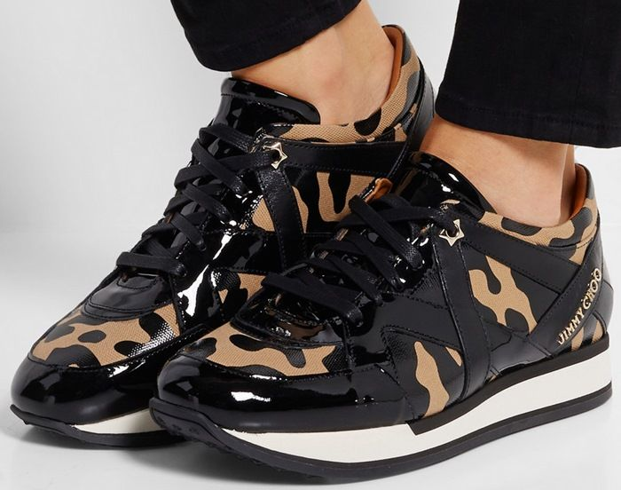 Jimmy Choo London leopard-print canvas and patent-leather sneakers