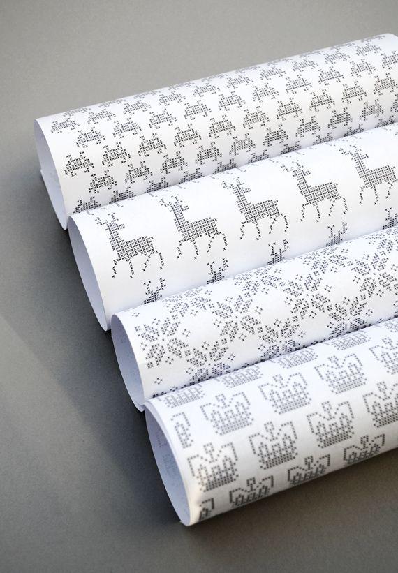 free printable pixel wrapping paper: {Deer, Snowflake, Crown, Space Invaders}