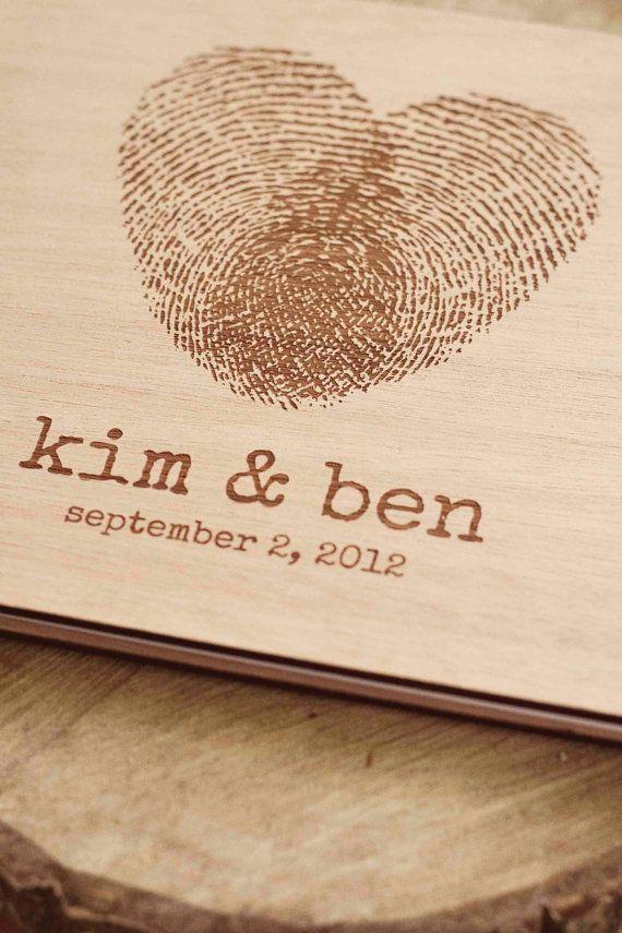 Custom wedding guest book wood rustic wedding guest book album bridal shower engagement anniversary - Fingerprint Heart