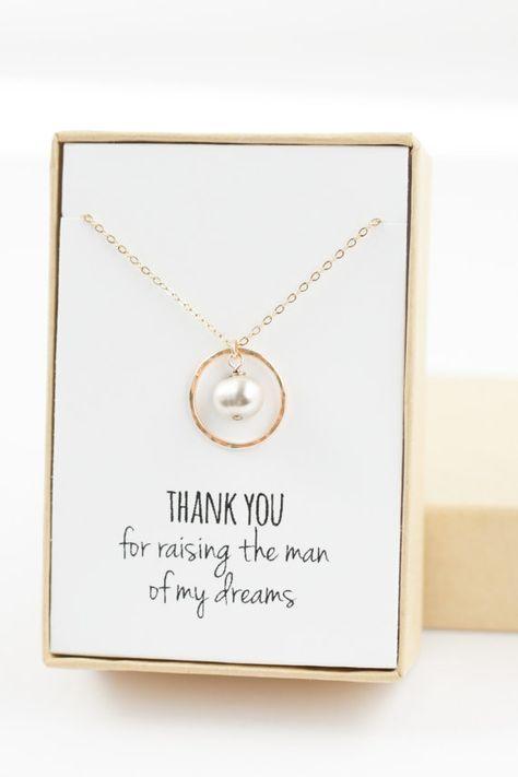 Mutter des Bräutigams Geschenks (Ewigkeit gold Halskette mit Perle) Vielen Dank…