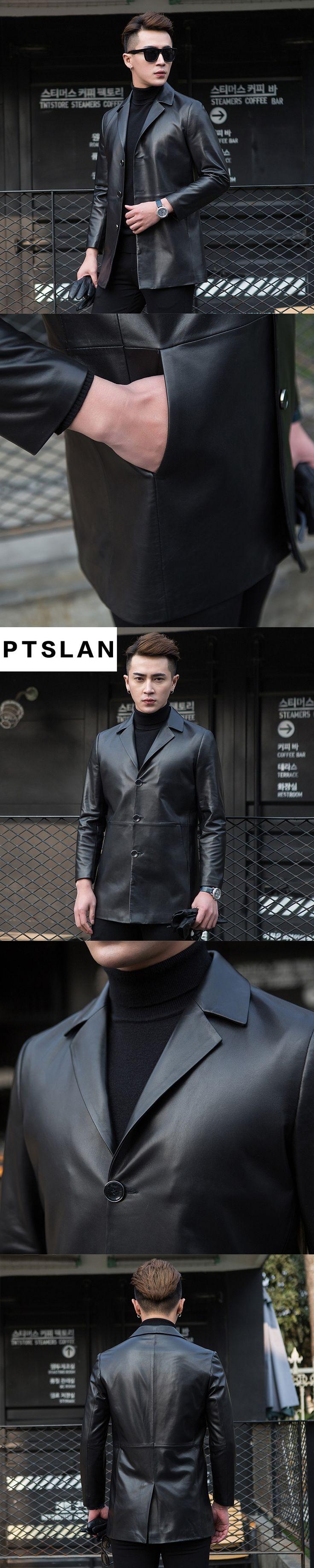 Ptslan High Quality Men's Genuine Leather Jacket Men Coat Brand Men Leather Bomber Jacket Blazers Veste Cuir Homme Long Leather