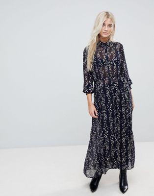 Only Ditsy Printed Maxi Shirt Dress