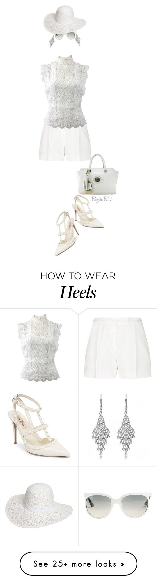 """""""The White Shirt & Shorts with Heels!"""" by birgitte-b-d on Polyvore featuring Elie Saab, Oscar de la Renta, Allurez, Valentino, Ray-Ban and Dorothy Perkins"""